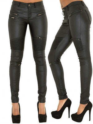 Faux Leather Stitching Zippered Denim Pants