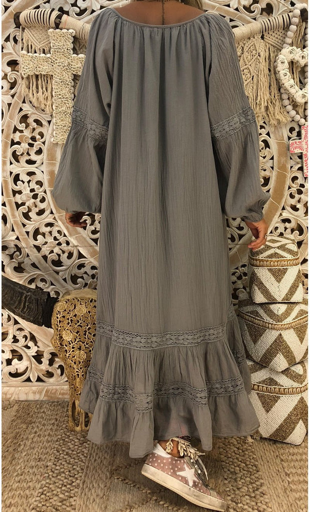 V Neck Long Lantern Sleeve Lace Patchwork Maxi Dress