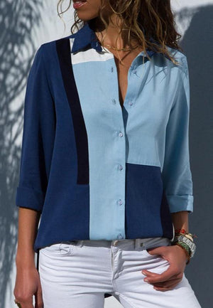 Long Sleeve Turn Down Collar Office Shirt Leisure Blouse Shirt Casual Tops -7357