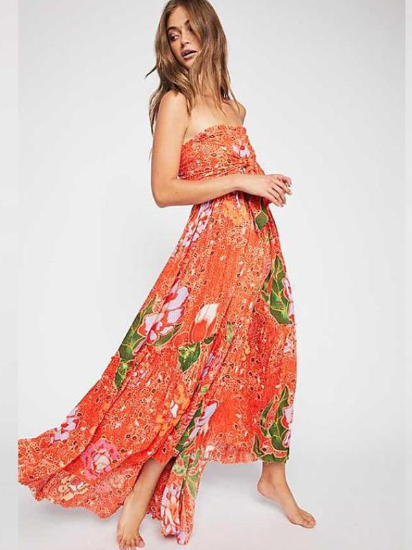 Vintage Off The Shoulder Beach Maxi Dresses