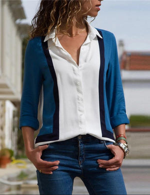 Turn Down Collar Office Shirt Leisure Blouse Shirt Casual Tops -7358
