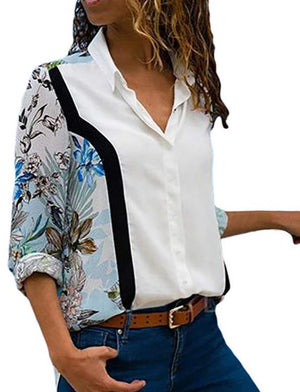 Turn Down Collar Office Shirt Leisure Blouse Shirt Casual Tops -7359