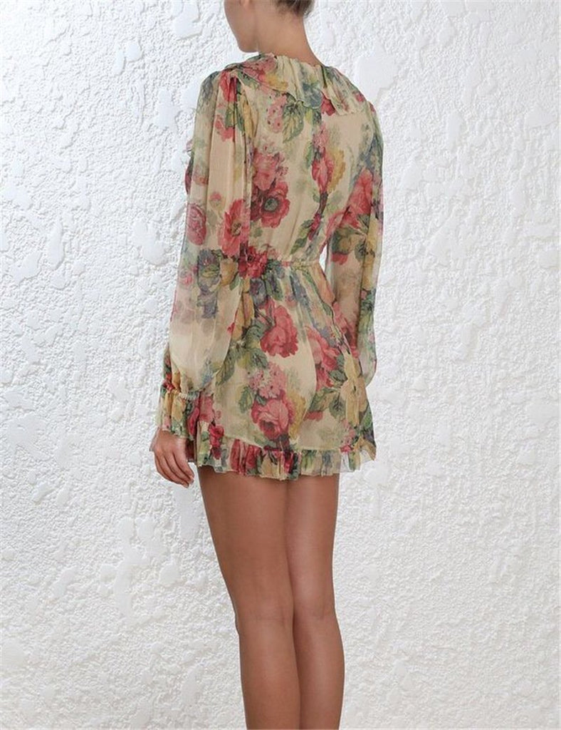 Sold Out - Floral Print Deep V-neck Ruffles Long Sleeves Jumpsuits