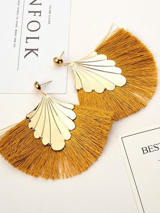 Fringed Bohemian Fashion Vintage Fan Leaf Ethnic Earrings