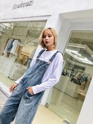 New Denim Overalls Retro Loose Jean Harlan Trousers Jeans