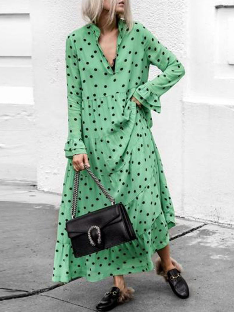 Green Women Daily Long Sleeve Holiday Printed Fall Dress