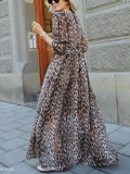 Sexy V-Collar Leopard Print Long-Sleeved Loose Maxi Dress