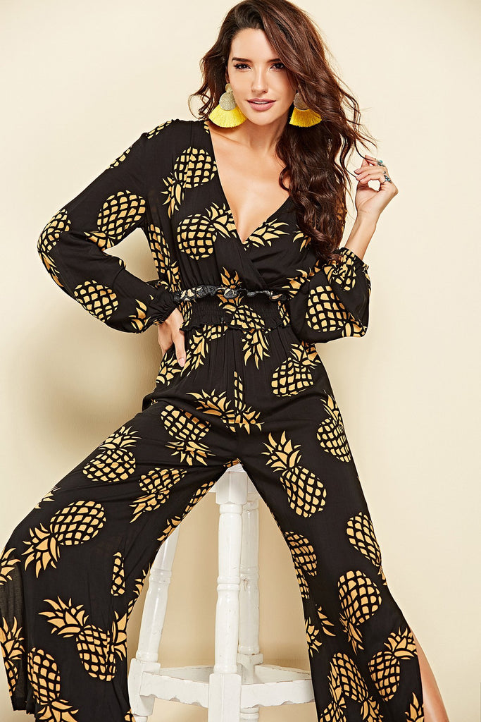 Bohemian V Neck Pineapple Print Long Sleeve Jumpsuit