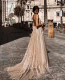 Sexy Gold V Neck Sequined Maxi Dresses