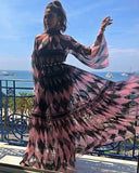 Pre-Sale Chiffon Floral Puff Long Sleeve Maxi Dress