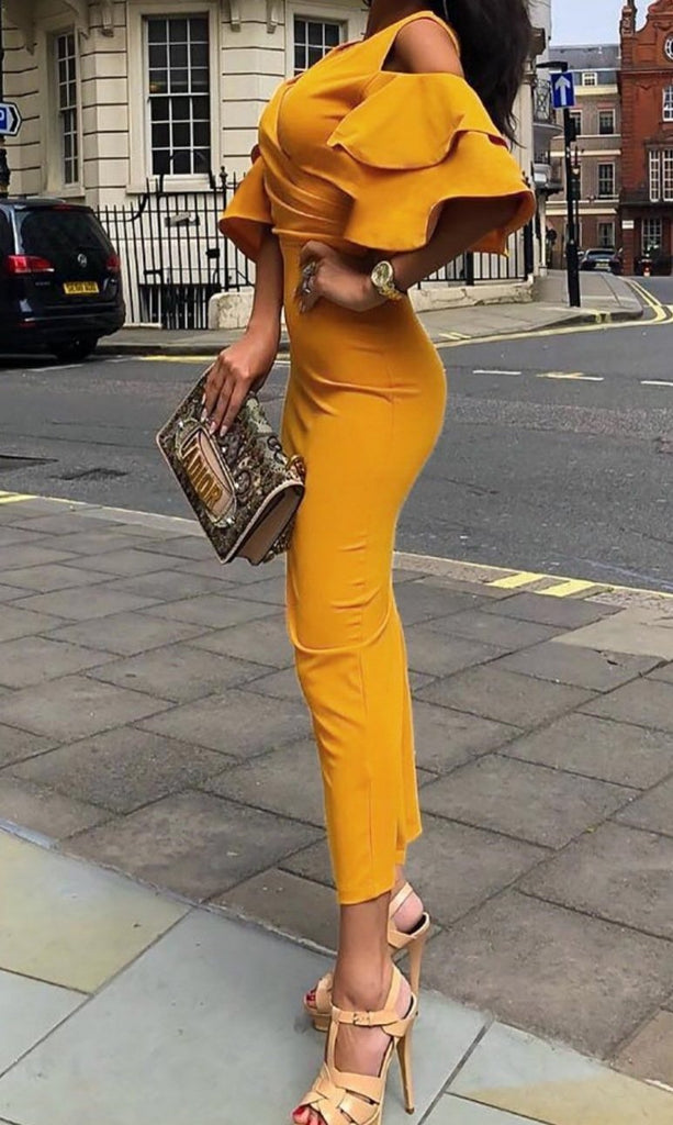 Sexy Bag Buttock Barb Sleeve Maxi Dress
