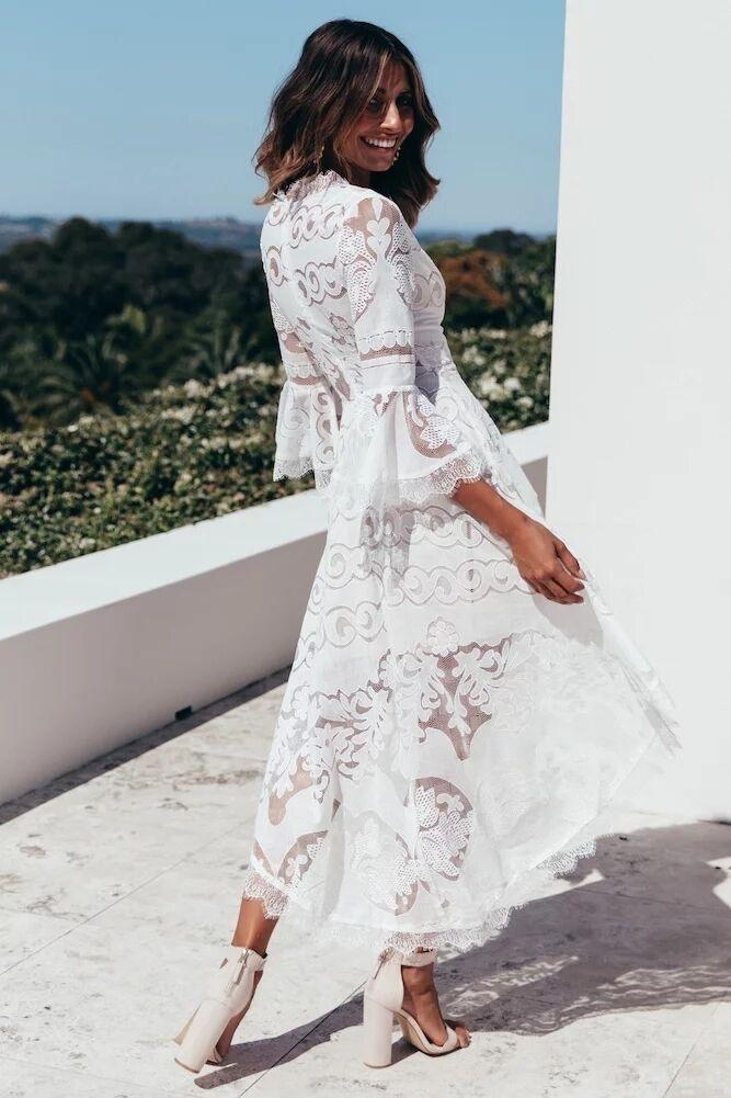 V-neck Long Sleeve Lace Midi Dress