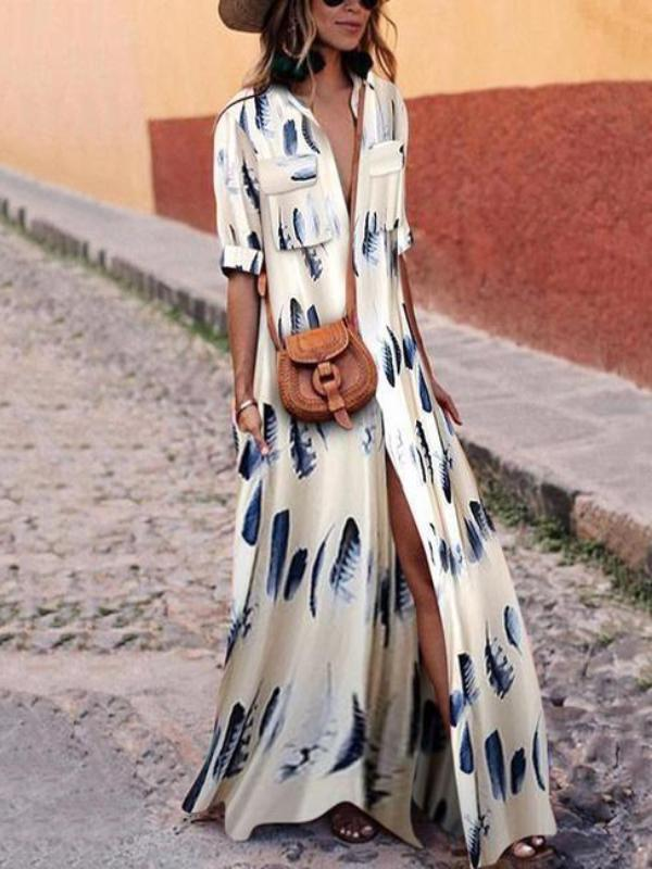 Bohemian Printed Split Maxi Dress