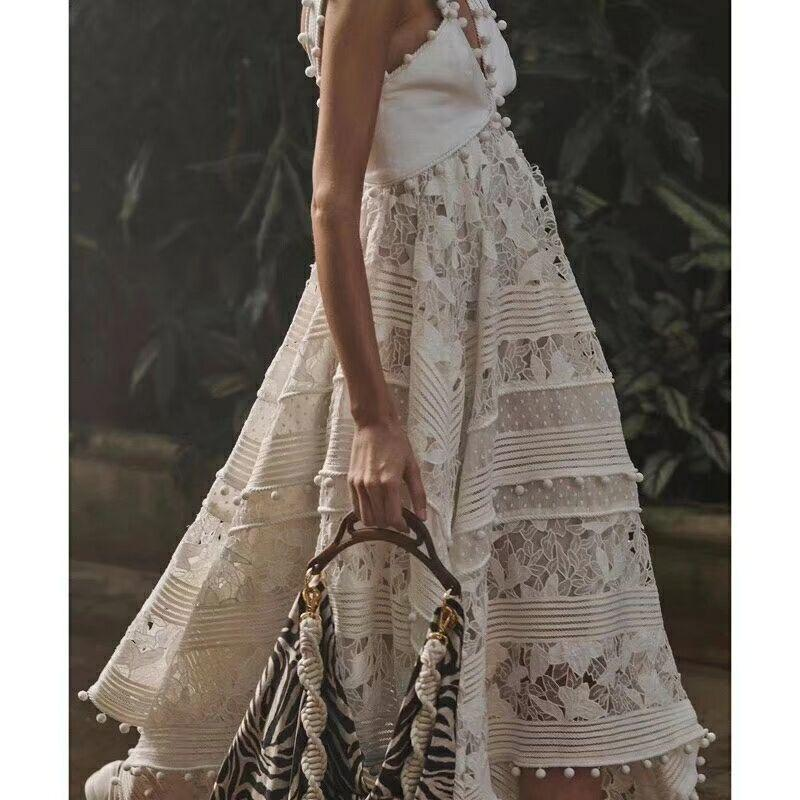Embroidered Lace Sleeveless White Maxi Dresses