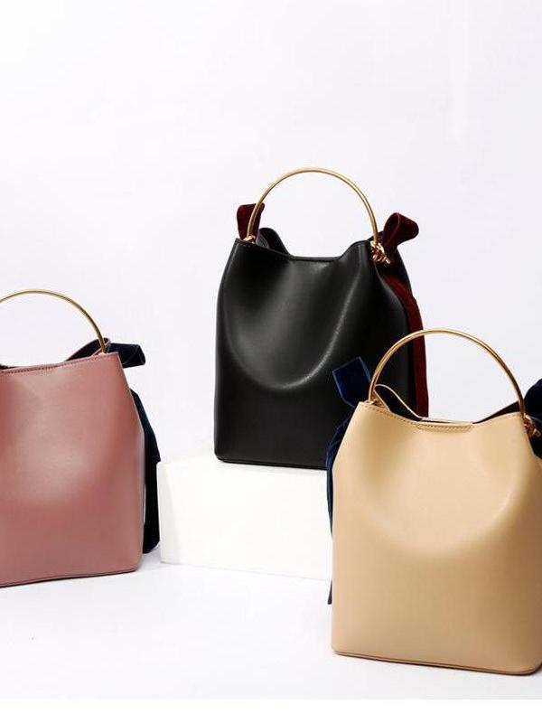 PU Velvet Bow Bag Slanting Portable Bucket Bag