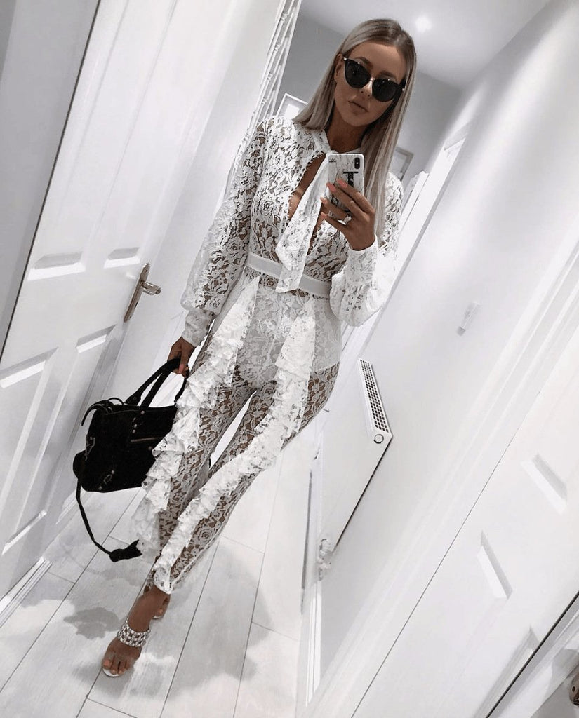 Lace See Through Lantern Sleeve Frills Design Jumpsuit
