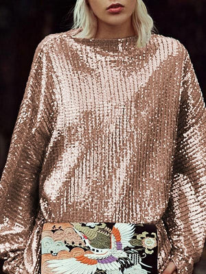 Sparkly Gold Sequined Loose Tops