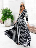 Bohemian V-neck Contrast Color Striped Print Maxi Dress