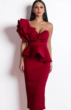 Sexy Off Shoulder Ruffle Backless Party Dinner Dress