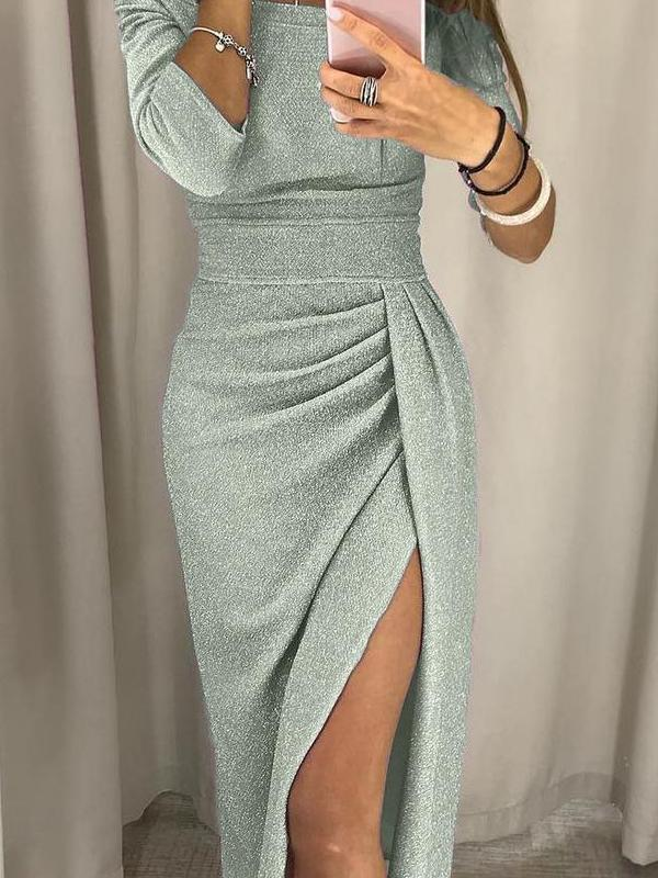 Sexy Shiny Off Shoulder Ruched Thigh Slit Dress
