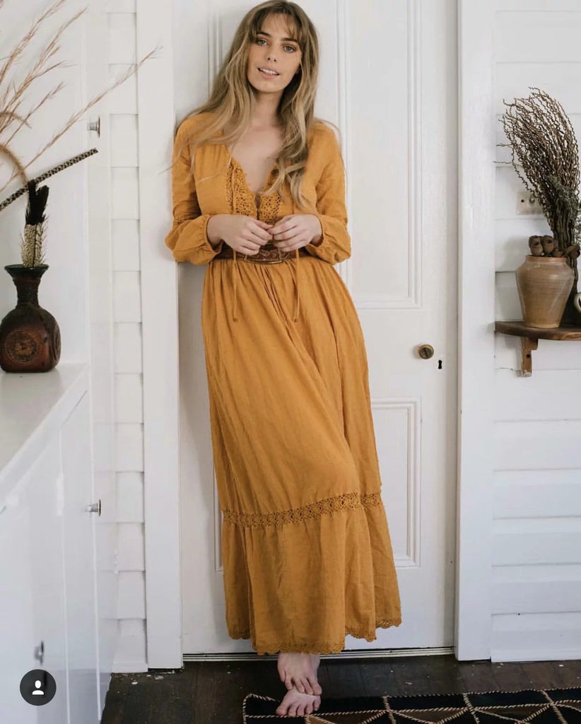 Bohemian Flared Sleeves Maxi Dress