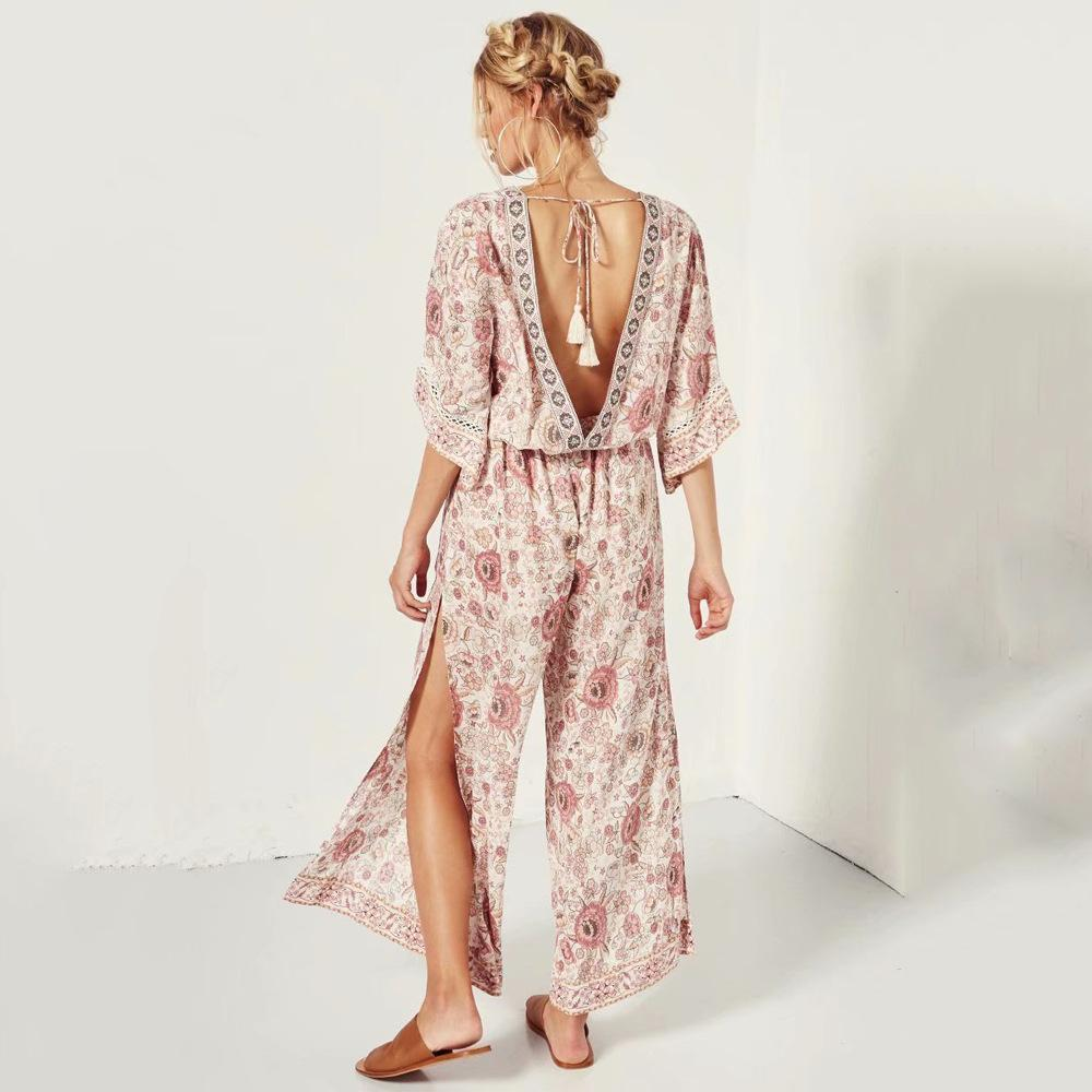 Bohemia V Neck Retro Floral Printed Jumpsuits