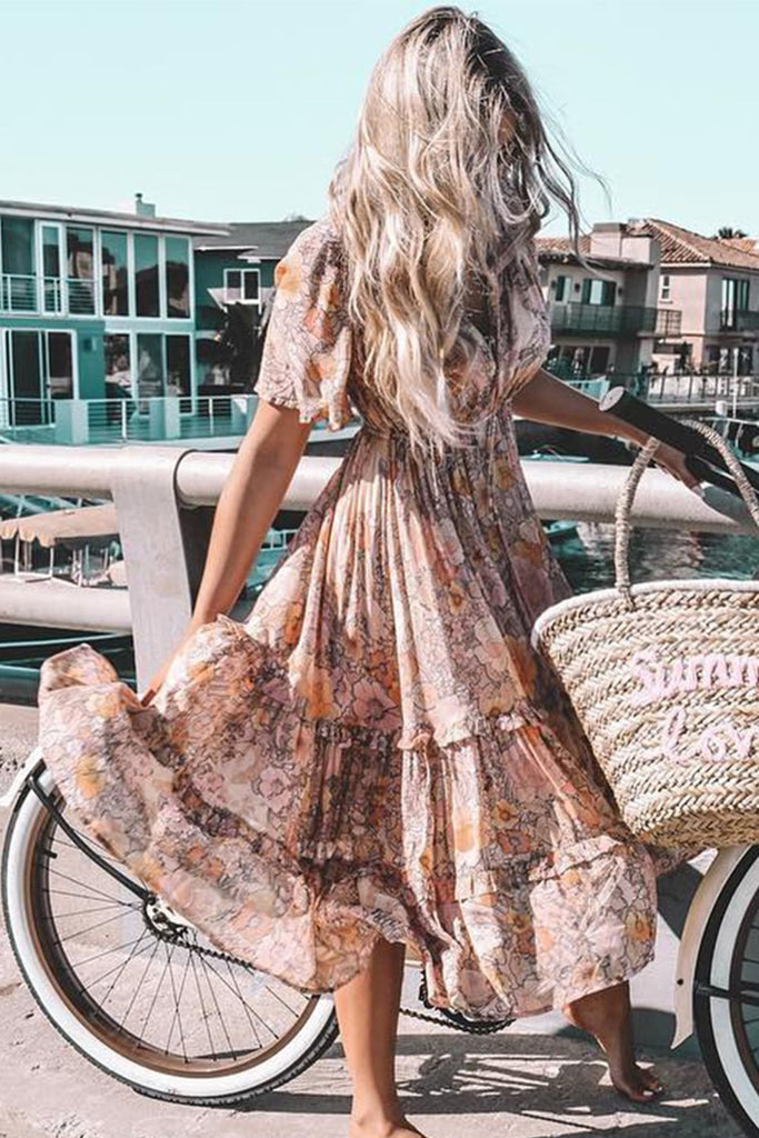 Khaki Begonia Bloom Bohemian Midi Dress