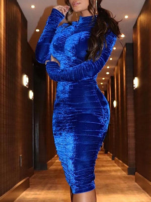 Velvet High Neck Scrunched Bodycon Dress