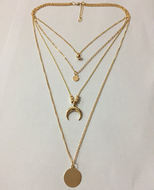 Fashion Personality New Multi-Layer Moon Disc Necklace