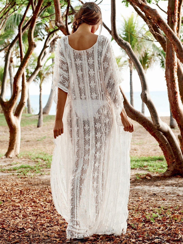 Lace Embroidered Loose Beach Holiday Cover Ups Kimono