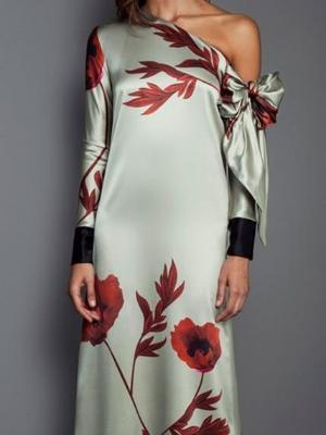 Shoulder Long Sleeve Printing Temperament Maxi Dress