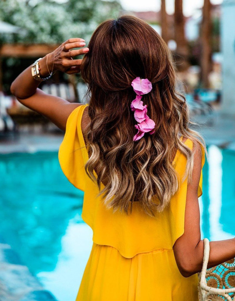 Yellow V Neck Split Boho Beach Dress