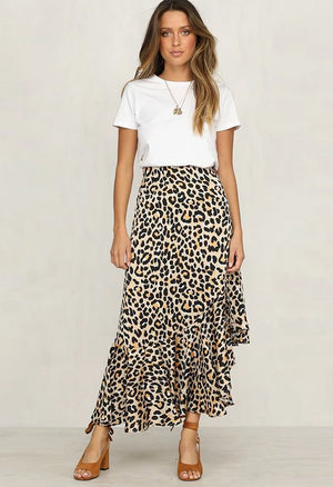 Leopard Print Ruffled Casual Skirt