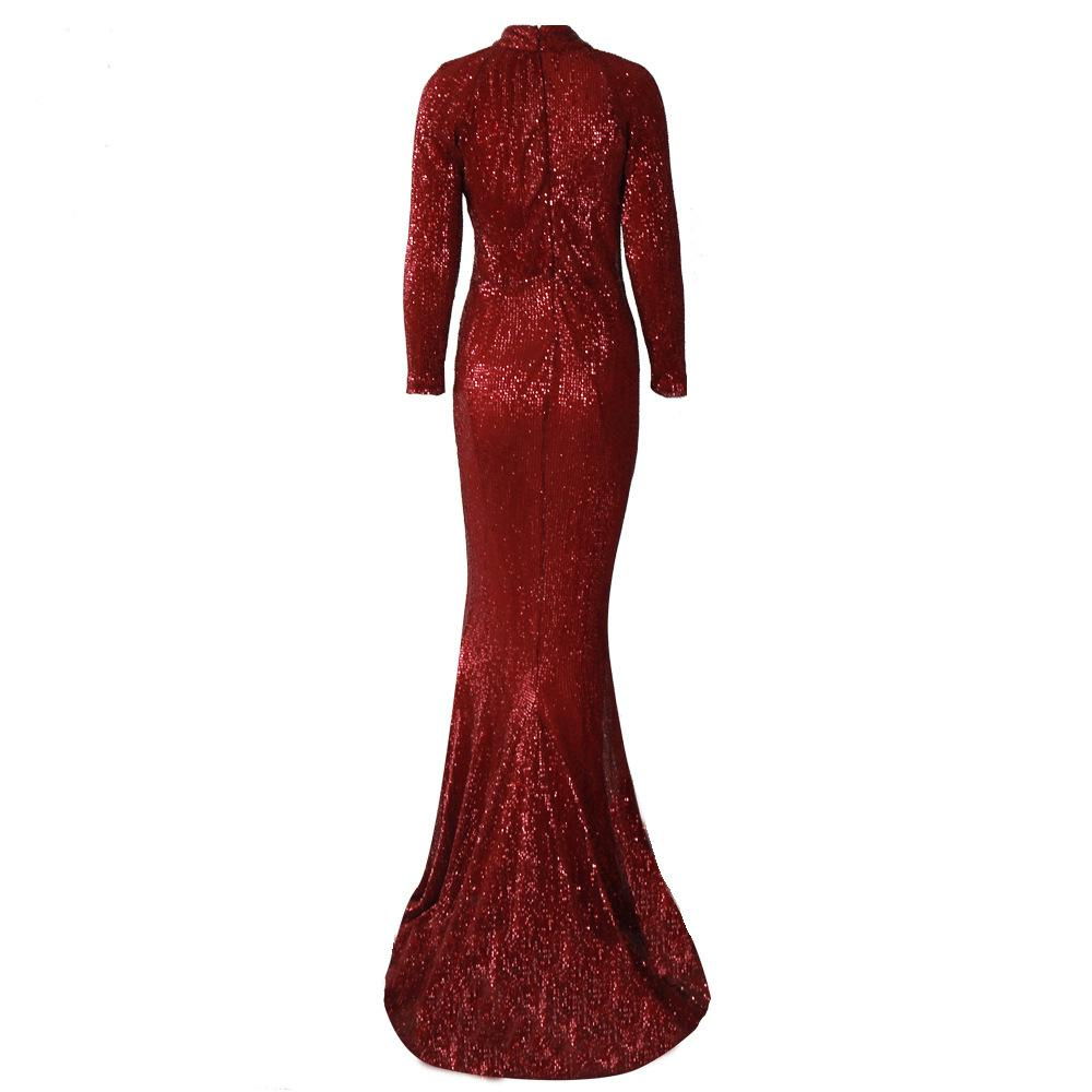 Sparkly Sequin Slim Long Sleeves Evening Dress
