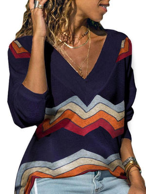 Long Sleeve Abstract Printed V Neck Tops