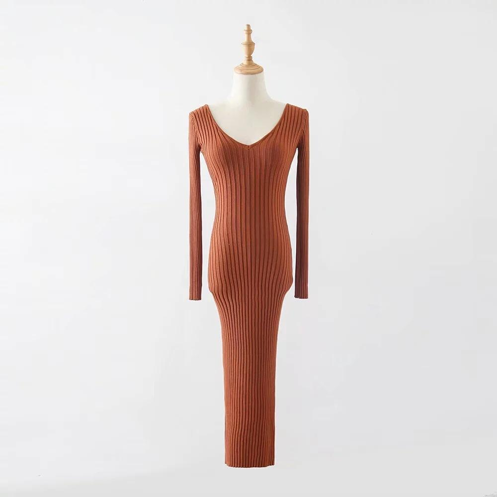 Sexy Thread Double V Collar Knitted Midi Dress