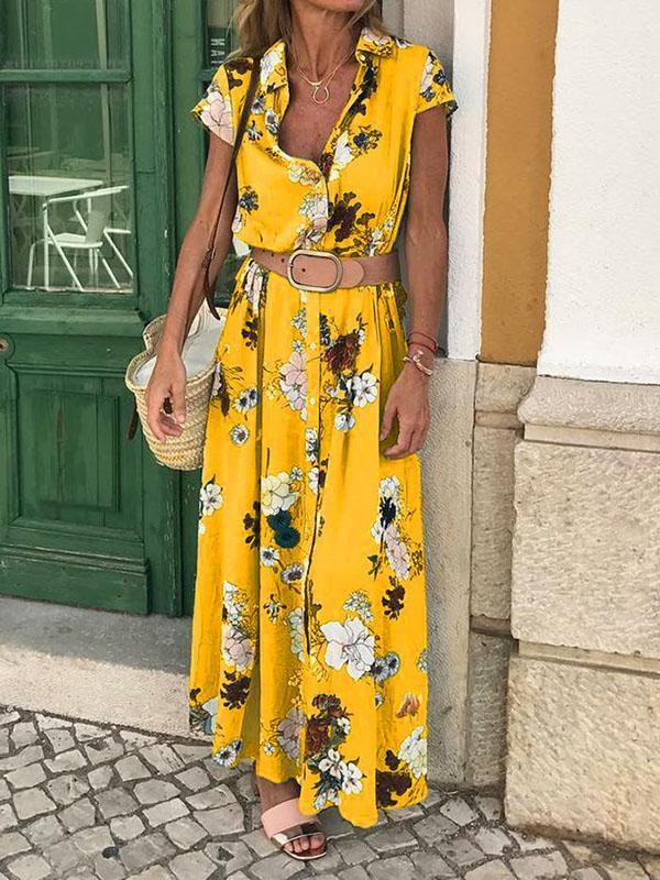 Floral Short Sleeves V-neck Maxi Dress