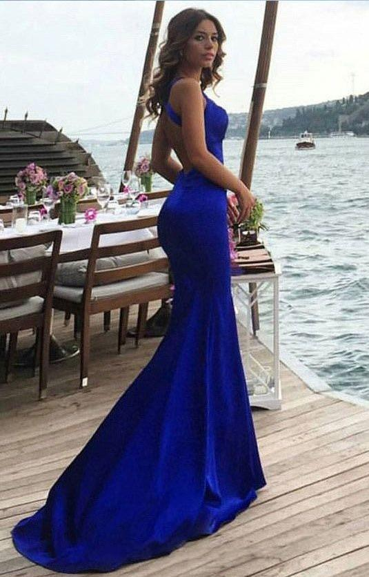 Sexy Backless Mermaid Blue Evening Dress