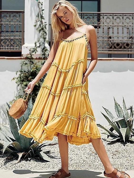 Solid Color Beach Bohemian Beaded Dress