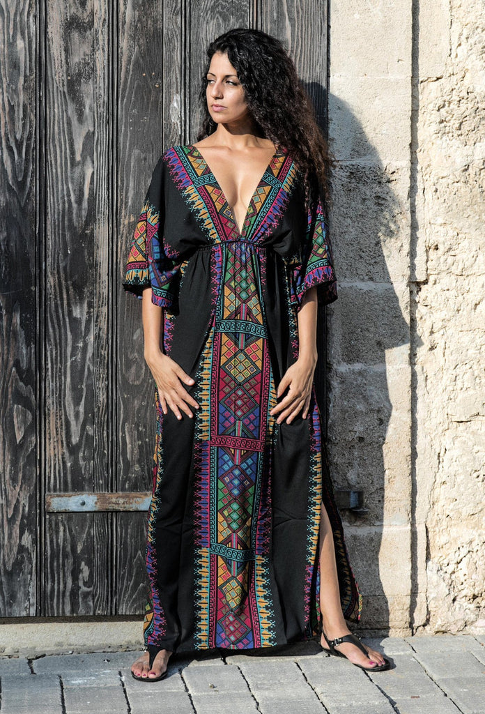 Deep V-neck Printed holiday robe maxi dress
