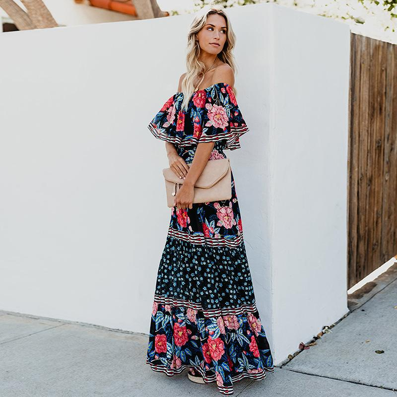 Off Shoulder Floral Printed Boho Beach Holiday Dress
