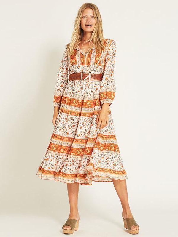 Bohemian Floral Printed Long Sleeve Orange Maxi Dress