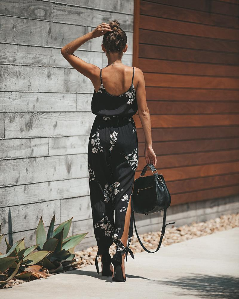Sexy Floral Print Open Back Boho Jumpsuits