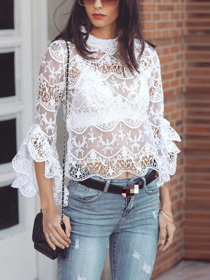 White Color Chic Lace Casual Blouse
