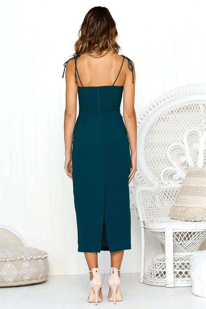 Solid Color Ankle Length Midi Dress