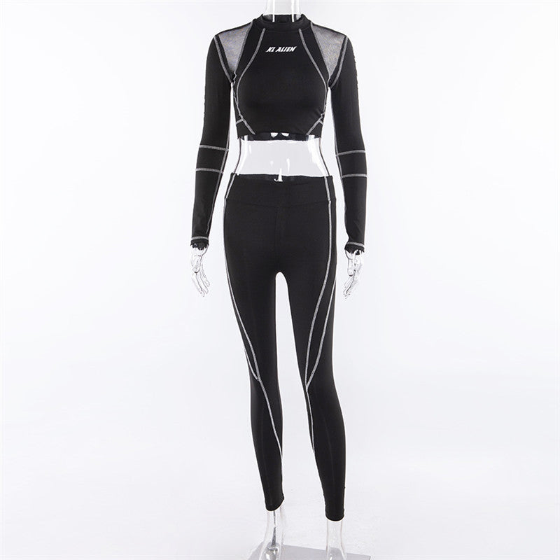Fitness Sporting Two Pieces Turtleneck Top Leggings Sport Sets