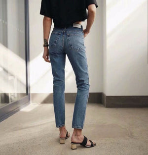 V-shaped High Waist Straight Leg Jeans
