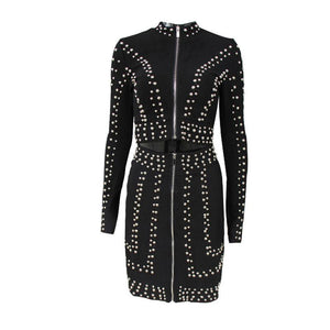Black Studded Bodycon Long Sleeve Jacket Two-Piece Suit