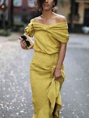 Sexy Off Shoulder Plain Cross Strap Yellow Maxi Dress