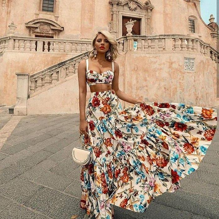 Two Pieces Floral Printed Boho Hippie Dress